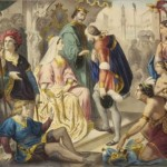 Columbus being greeted by King Ferdinand and Queen Isabella on his return to Spain
