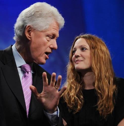 Drew Barrymore and Bill Clinton