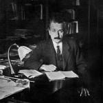 Photo of Albert Einstein in his office at the University of Berlin in 1920
