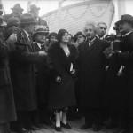 Albert and Elsa Einstein met with reporters