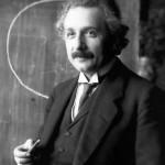 Einstein during a lecture in Vienna, 1921