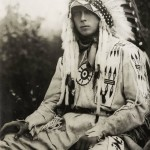 The Prince of Wales in a headdress of Indian chief during his visit to the province of Alberta, Canada. He received the title of Great Morning Star. 1919