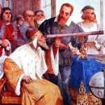 Fresco by Giuseppe Bertini depicting Galileo showing the Doge of Venice how to use the telescope
