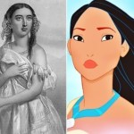 Pocahontas in the Disney animated film, 1995 and the portrait, 1883