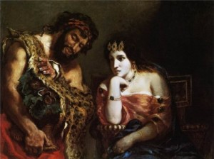 Eugene Delacroix. Cleopatra and farmer, 1838