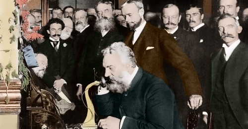 Alexander Bell makes a telephone call