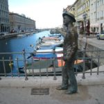 Canal Grande in Trieste with Joyce monument