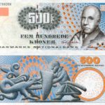 Portrait of Niels Bohr on banknote