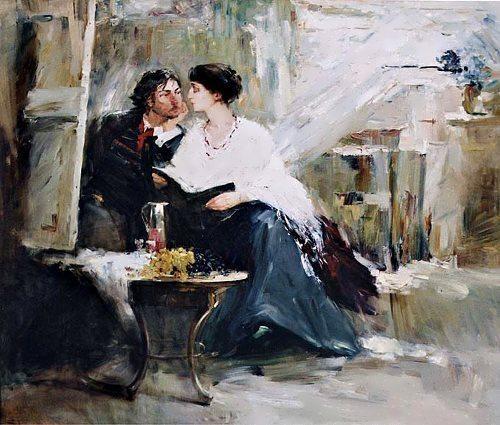 Akhmatova and Modigliani at the unfinished portrait, the artist Natalia Tretyakova