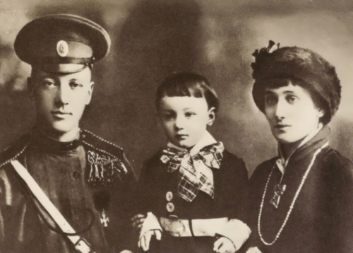 Akhmatova with her husband and son, Lev Gumilev