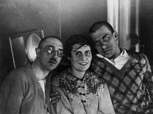 Osip Brik, his wife Lilya and Vladimir Mayakovsky