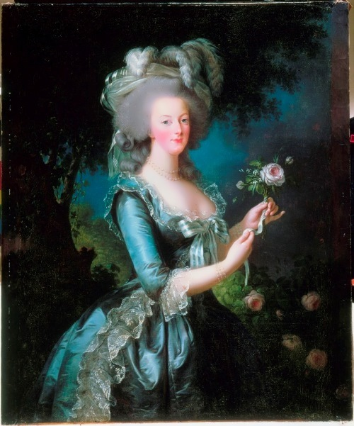 Marie Antoinette - Queen of France. Vigee Le Brun. Portrait with a rose
