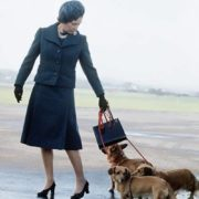 1974. Queen Elizabeth II with her dogs
