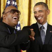Barak Obama and Stevie Wonder