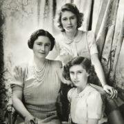 The Queen and her daughters Elizabeth and Margaret, October 1942
