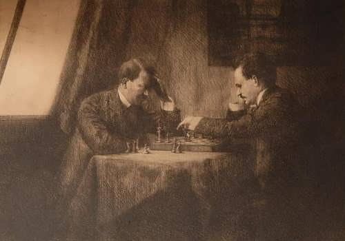 Lenin and Hitler are playing chess