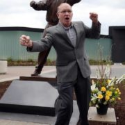 Dan Gable and his statue