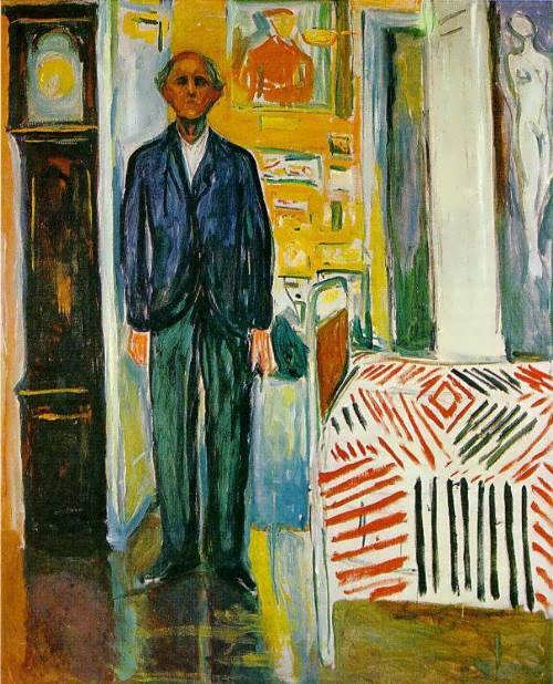 Self-portrait between the clock and the bed, 1942