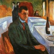 Self-portrait with a bottle of wine, 1906