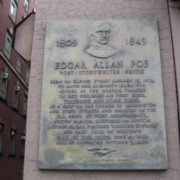 A plaque installed in the place where Poe was born