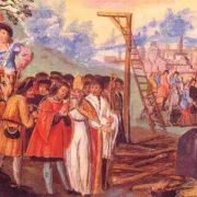 Medieval miniature depicting the execution of Gilles de Rais