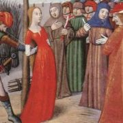 Medieval miniature. Jeanne is tied to a post