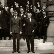 Lindberg on the steps of the US Embassy in Paris, together with Ambassador Herrick. Paris, 1933
