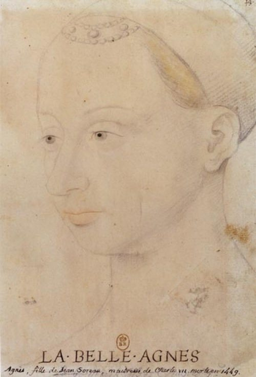 Beautiful Agnes. A copy of the portrait of Agnes Sorel from the painting by Jean Fouquet. Paris, National Library