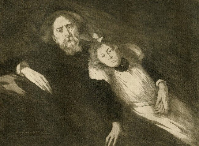 Eugene Carriere. Portrait of Alphonse Dode with his daughter