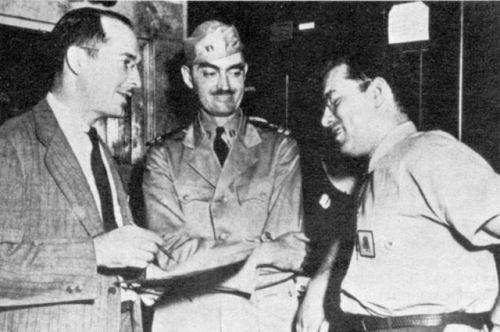 Robert Heinlein, Lyon Sprague de Camp and Isaac Asimov during the service in the army