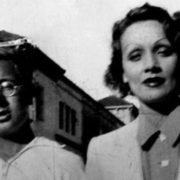 Fifteen-year-old Ray Bradbury and Marlene Dietrich at the film studio
