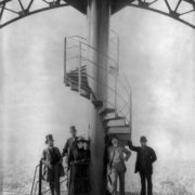 Gustave Eiffel and four other people at the summit of the Eiffel Tower, 1889