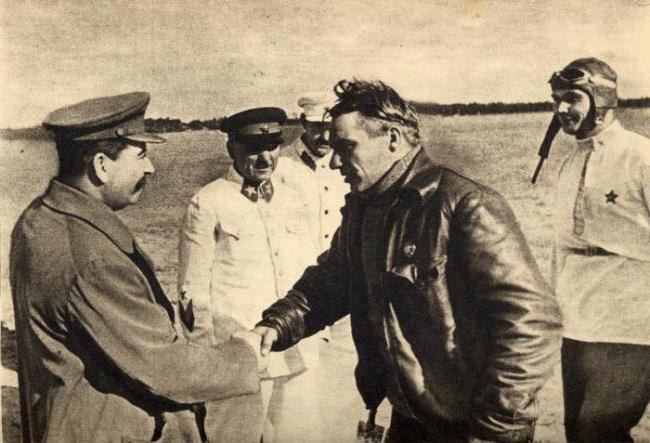 Legendary Chkalov and Stalin