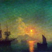 Neapolitan Bay in the moonlit night. 1850