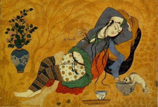 Amazing Persian miniature, illustration to Khayyam's Rubaiyat
