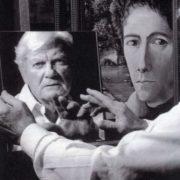 Jean Marais with a portrait of Jean Cocteau