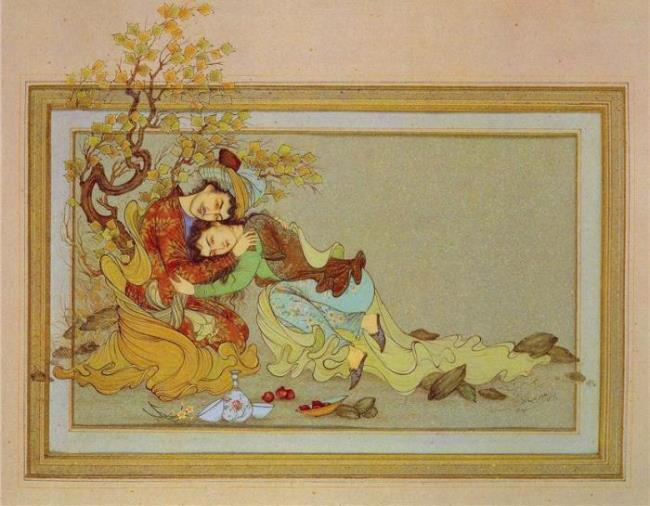 Persian miniature, illustration to Khayyam's Rubaiyat
