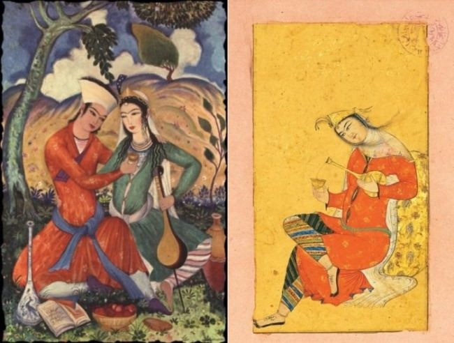 Wonderful Persian miniature, illustration to Khayyam's Rubaiyat