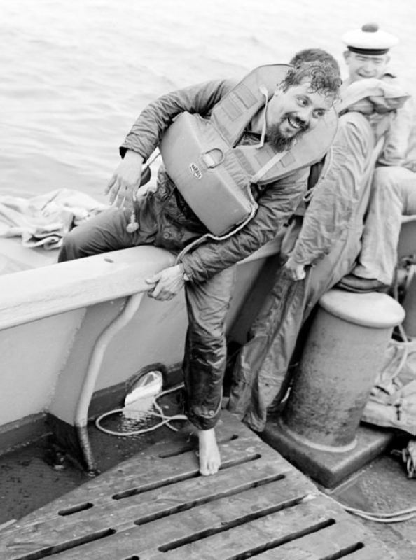 Alain Bombard - the first person who crossed the Atlantic Ocean on a rubber boat