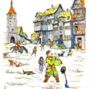 Magic Porridge Pot. Illustration by V. M. Konashevich