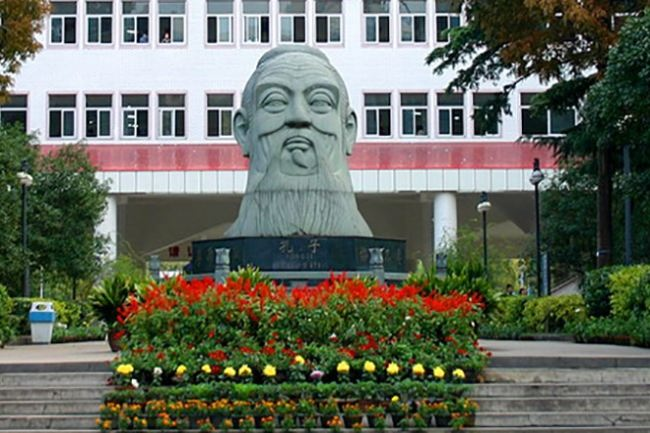 Statue of Confucius at the Secondary School No. 6 in Wuhan