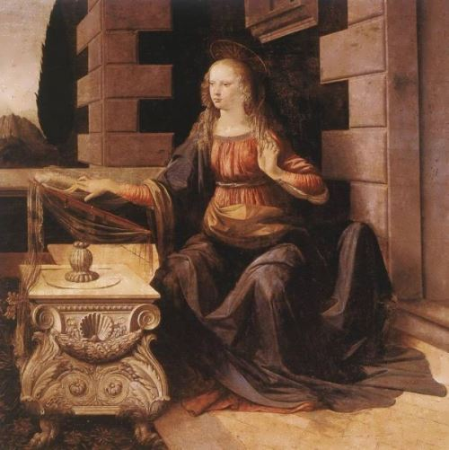 Detail of the painting by da Vinci's The Annunciation, 1497