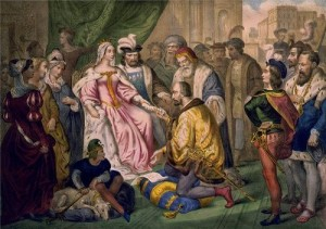 Columbus kneeling in front of Queen Isabella I