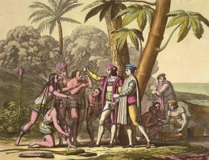 The Landing of Columbus. Christopher Columbus and others showing objects to Native American men and women on shore