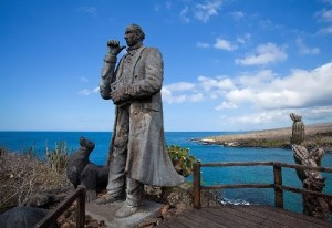 Monument to Darwin on the island of San Cristobal