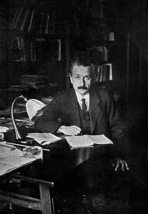 Photo of Albert Einstein in his office at the University of Berlin in 1920