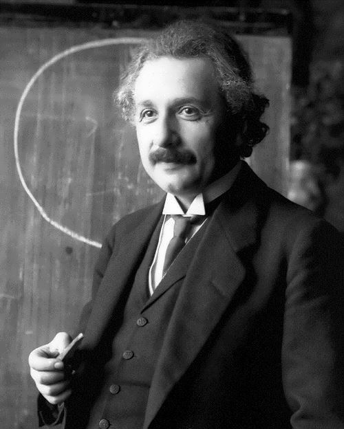 Einstein during a lecture in Vienna, 1921