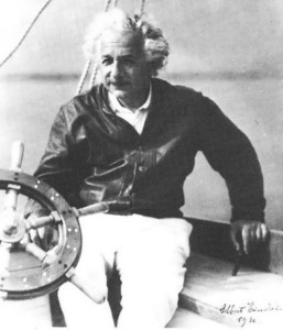Einstein on board of his famous yacht. Summer 1936