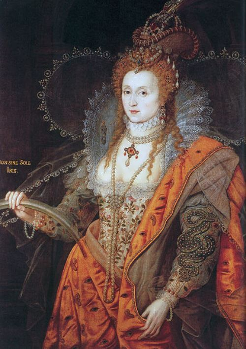 The rainbow portrait of Elizabeth I. Rainbow is the symbol of peace after storms. The motto reads NON SINE SOLE IRIS (No rainbow without the sun). The snake on her left sleeve is the symbol of wisdom