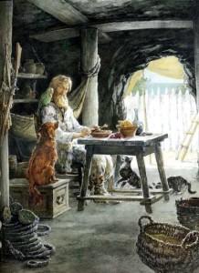 Robinson's life on the desert island. Illustrator Ilyinsky